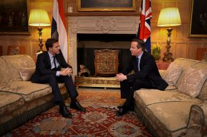 Mark Rutte with UK MP David Cameron